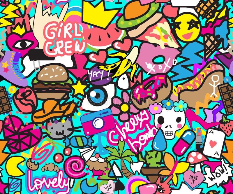 与女孩乘员组和樱桃炸弹题字的五颜六色的凉快的贴纸 向量例证