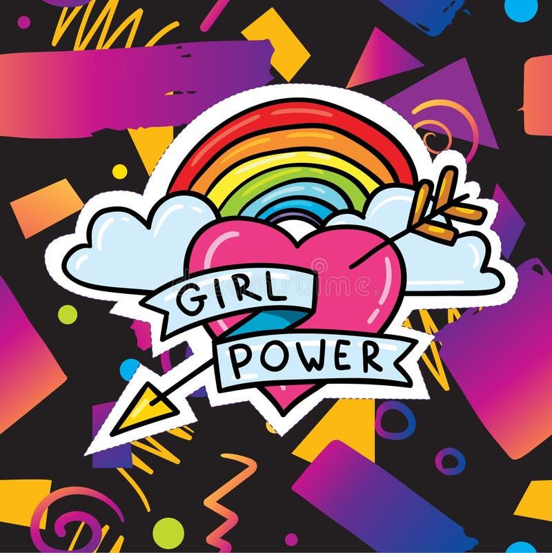 与女孩力量贴纸的时髦卡片设计 皇族释放例证