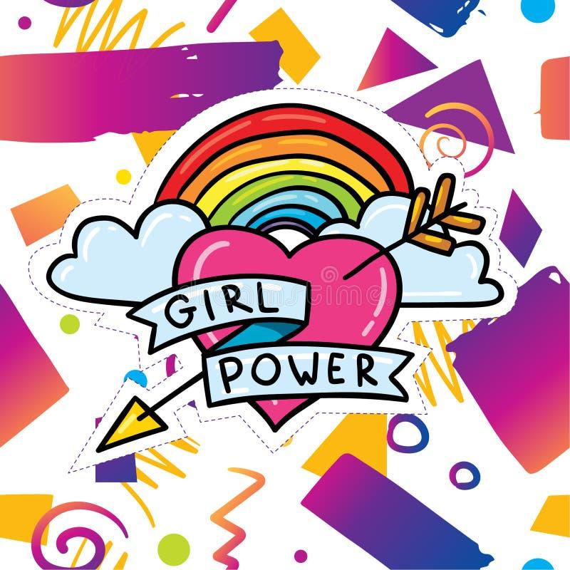 与女孩力量贴纸的时髦卡片设计 库存例证