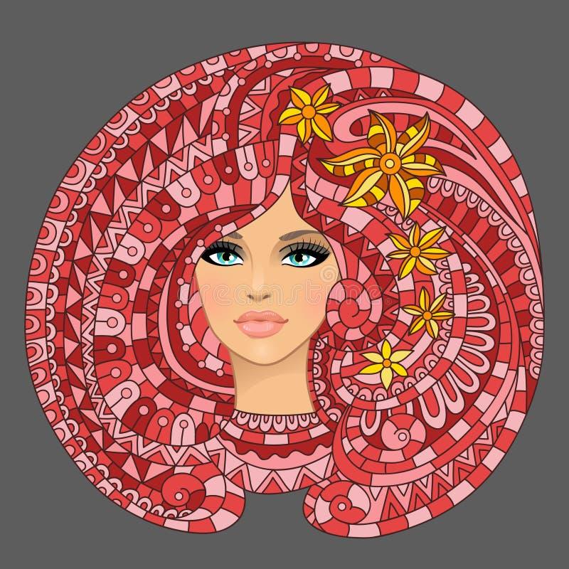 与女孩和抽象花的纹理 库存例证