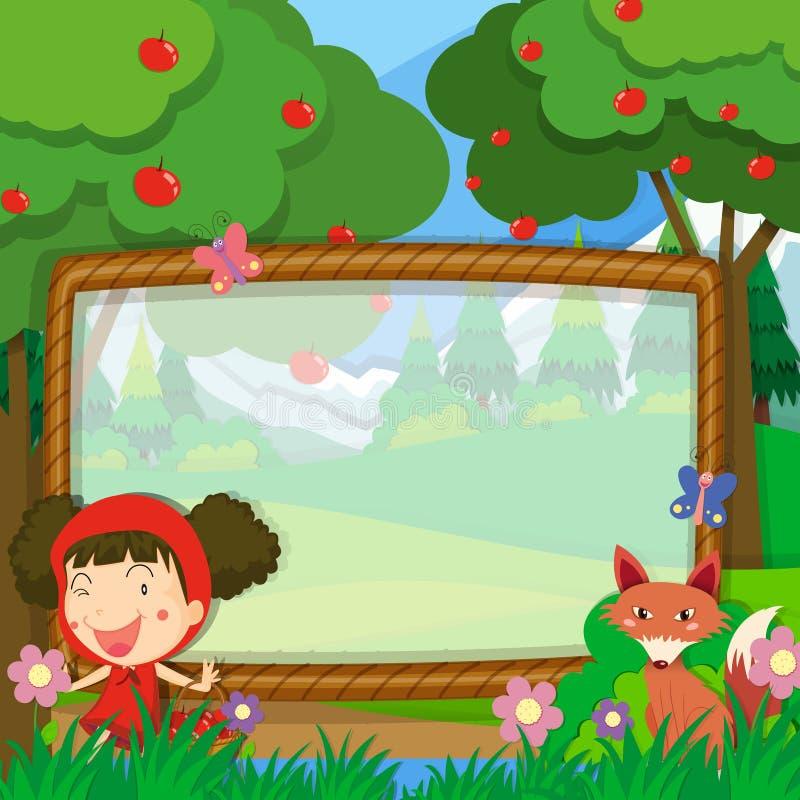 与女孩和狐狸的框架设计 皇族释放例证