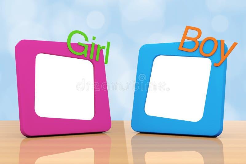 与女孩和男孩标志的照片框架 3d翻译 向量例证