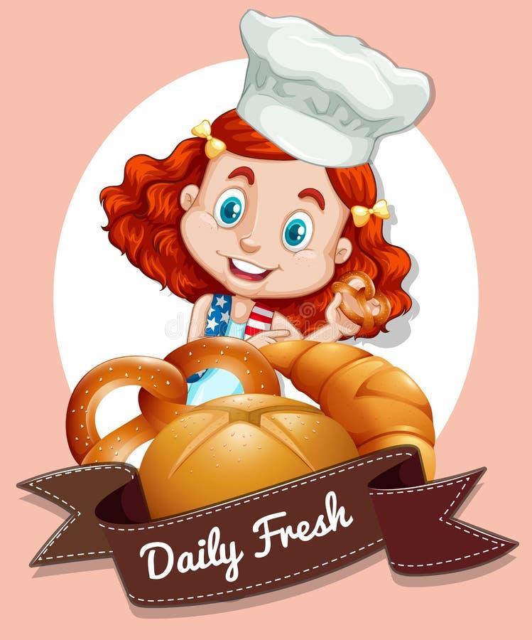 与女孩和面包店的商标设计 向量例证