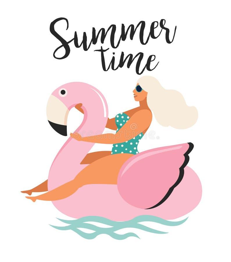 与女孩游泳的传染媒介抽象夏时例证卡片在海浪的桃红色火鸟浮游物圈子与书法 Su 向量例证