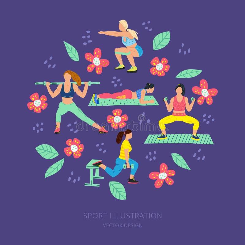 与女孩的圆例证体育衣裳和花的 锻炼,训练手拉的平的例证集合 ?? 库存例证