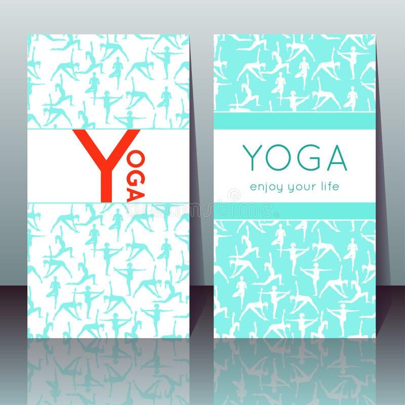 与女孩的瑜伽卡片瑜伽姿势的和样品发短信 库存例证