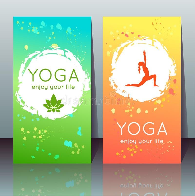与女孩的瑜伽卡片瑜伽的摆在,莲花 皇族释放例证