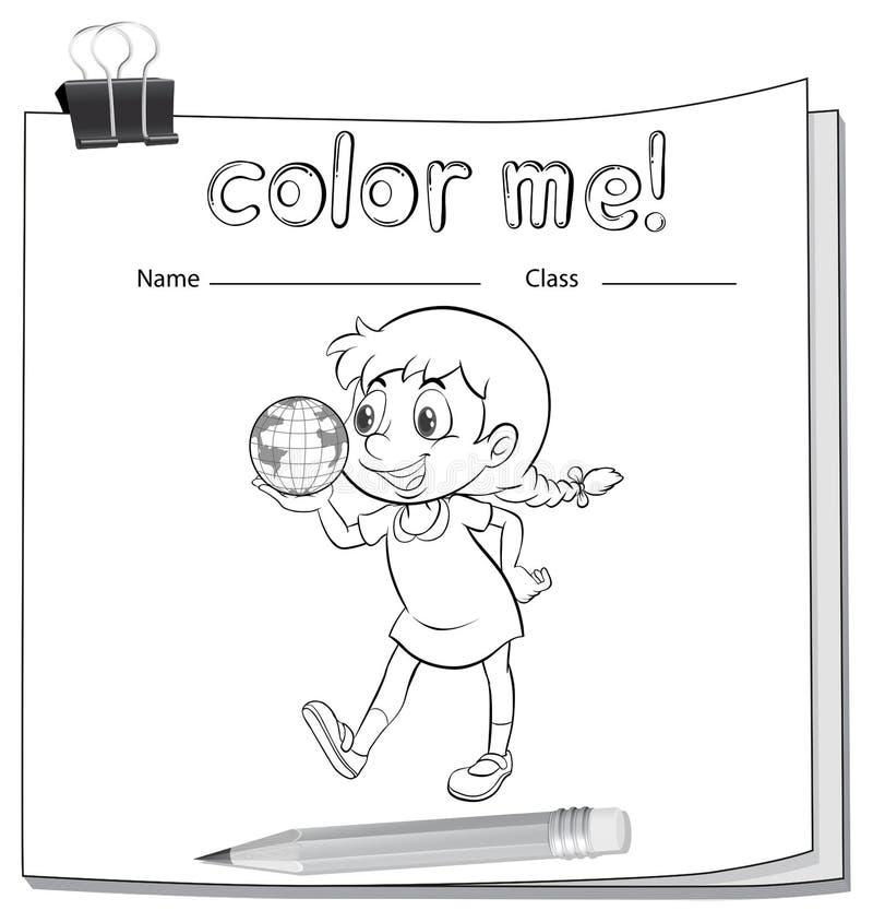 与女孩的着色活页练习题 库存例证