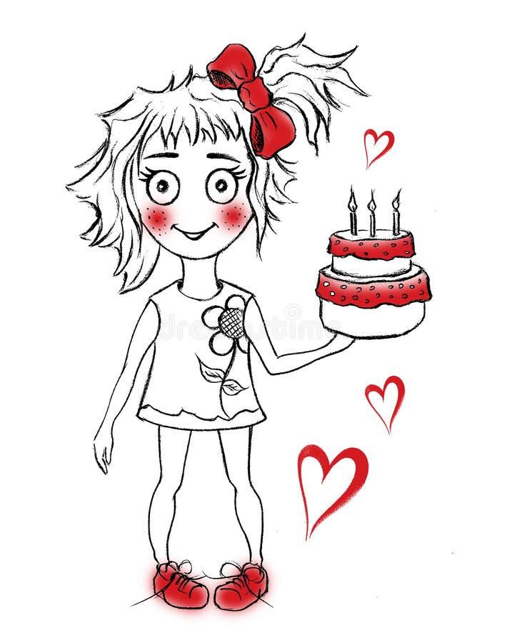 与女孩的逗人喜爱的生日蛋糕 库存例证