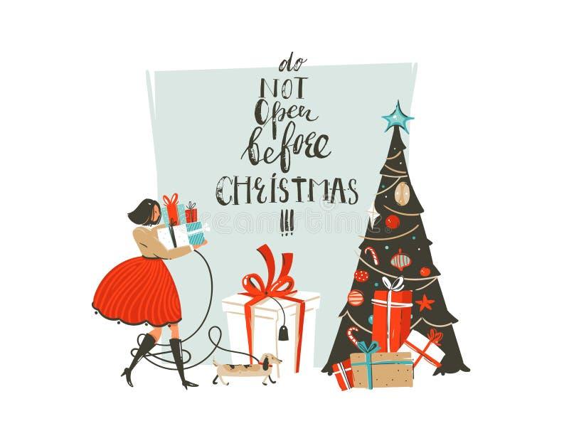 与女孩,狗,惊奇礼物盒的手拉的传染媒介摘要乐趣圣诞快乐时间动画片例证贺卡 皇族释放例证