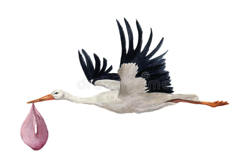 与女孩婴孩的水彩手画飞行白色鹳 在白色背景隔绝的手画ciconia鸟例证 E 库存例证