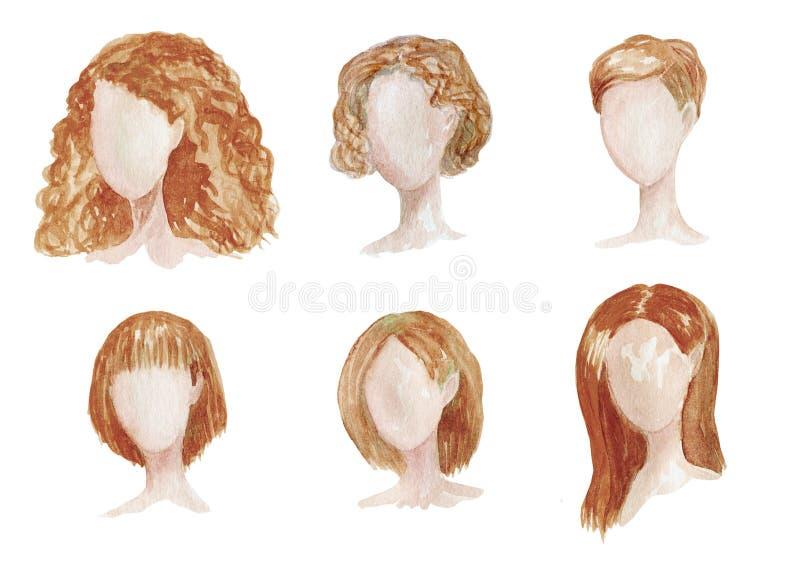 与女性发型不同的水彩手拉的集合长的,卷曲,chort头发 妇女变褐理发例证 库存例证