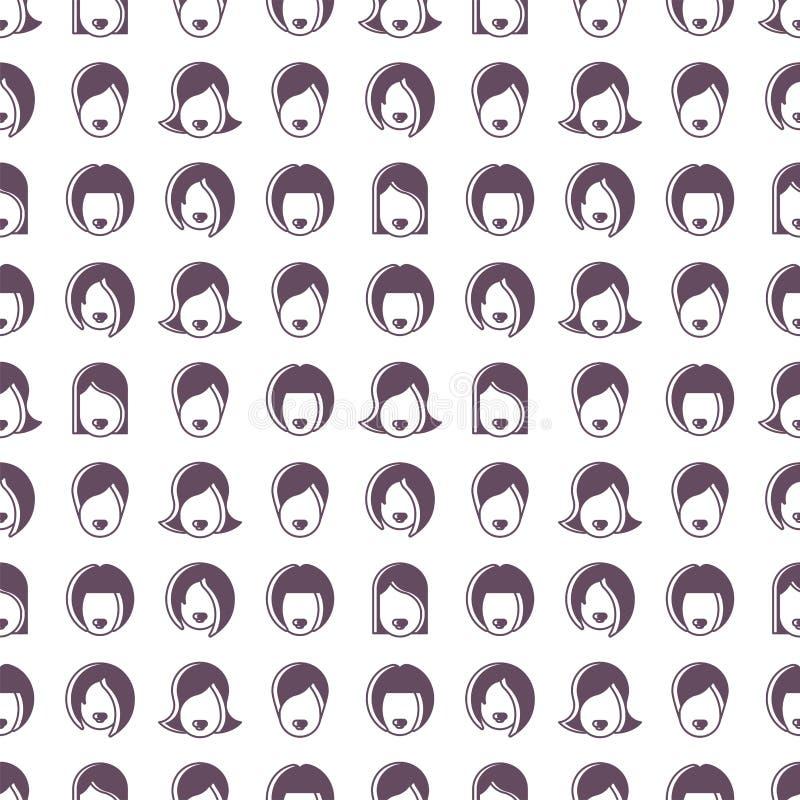 与女性头的无缝的样式 库存照片