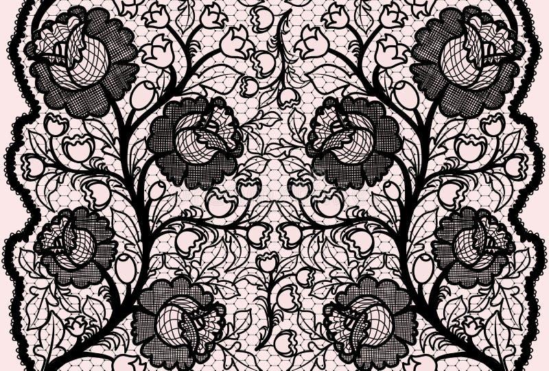 与女性花卉样式的抽象无缝的黑鞋带丝带 向量例证
