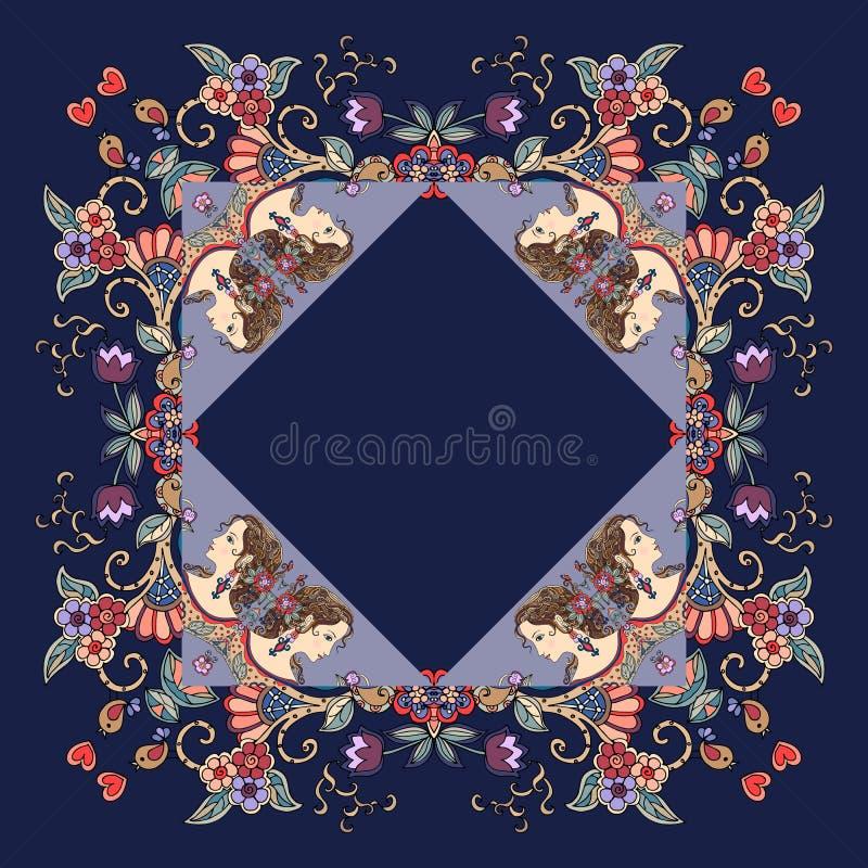 与女性画象和花饰的美丽的班丹纳花绸印刷品 库存例证