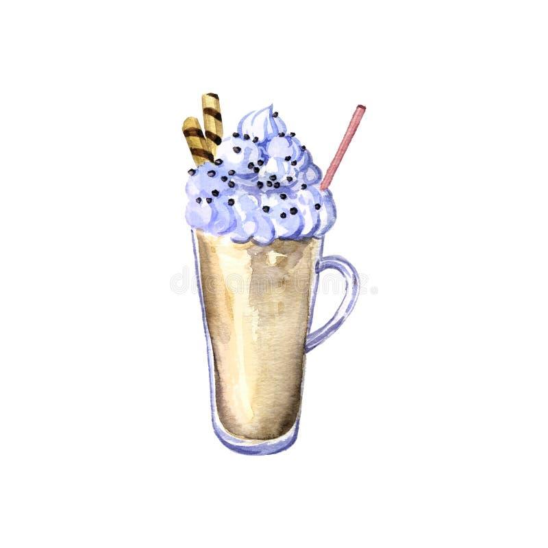 与奶油和巧克力的水彩奶昔 皇族释放例证
