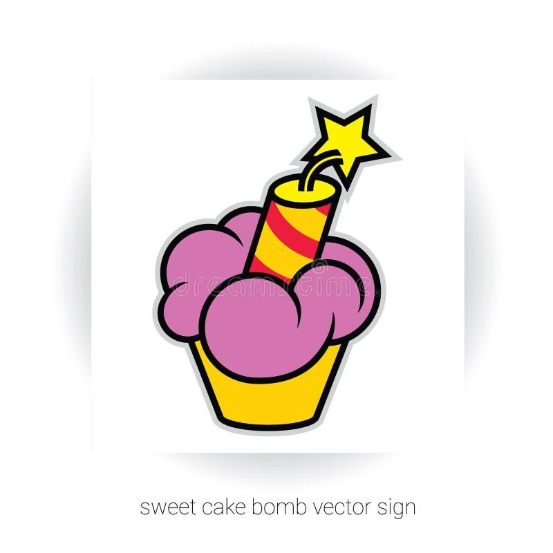 与奶油和炸药的杯形蛋糕 向量例证