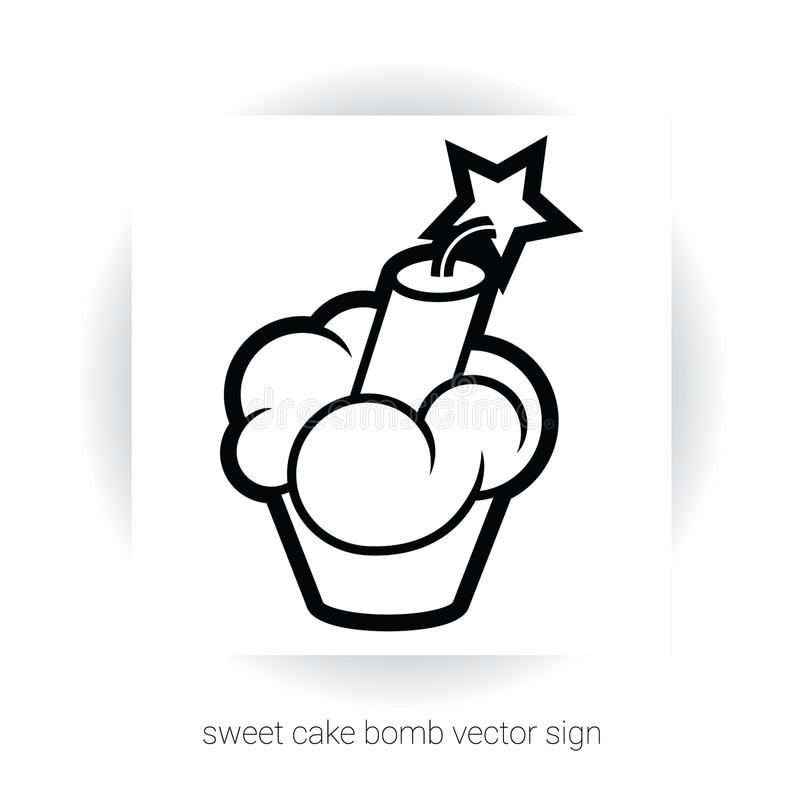 与奶油和炸药的杯形蛋糕 库存例证