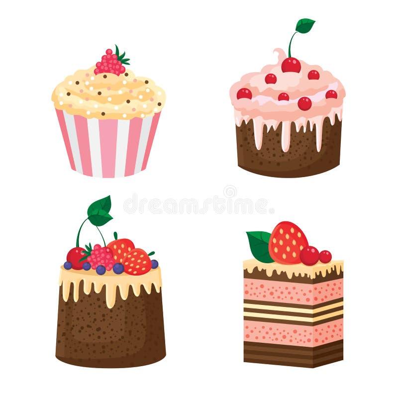 与奶油和莓果的蛋糕 免版税库存照片