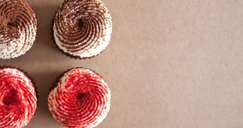 与奶油奶酪结霜的巧克力杯形蛋糕 免版税图库摄影