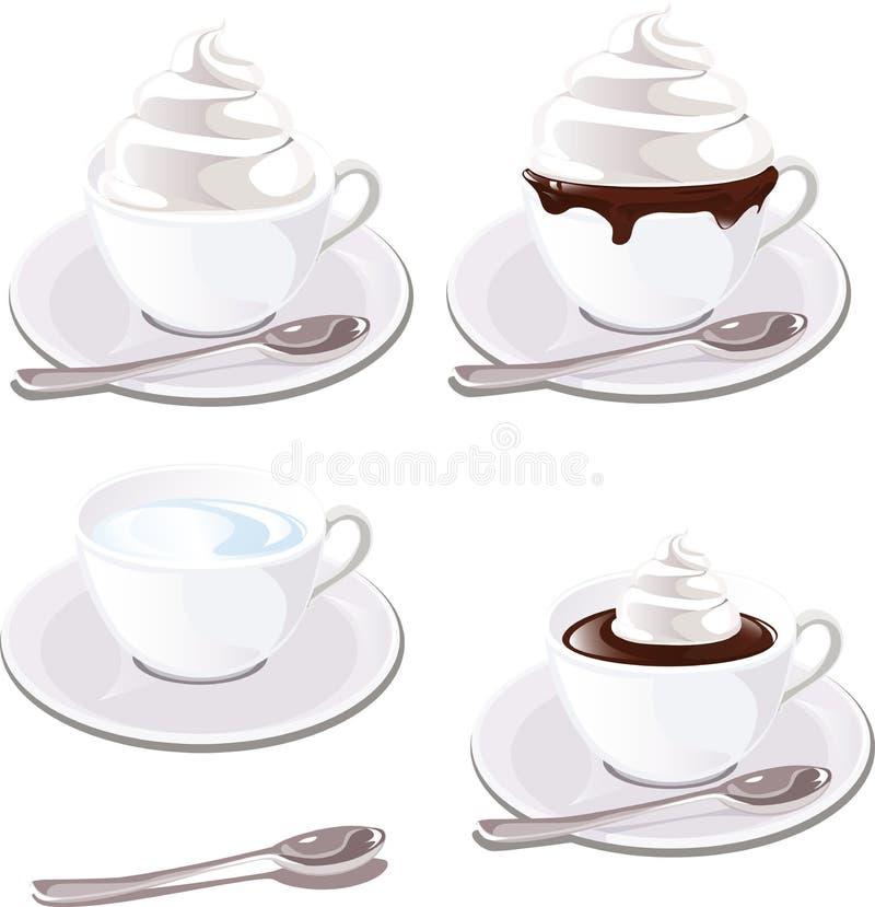 与奶油的咖啡 向量例证