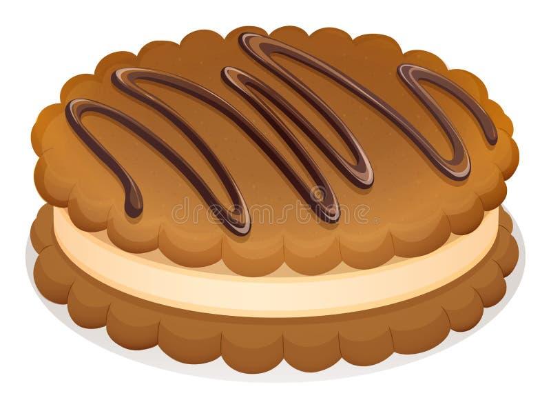 与奶油的巧克力曲奇饼 库存例证