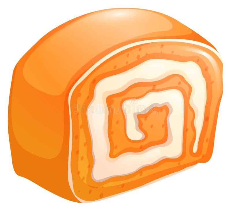 与奶油的橙色蛋糕卷 库存例证
