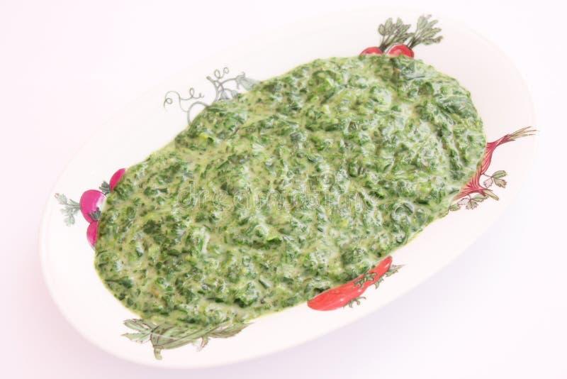 与奶油的菠菜 免版税库存照片