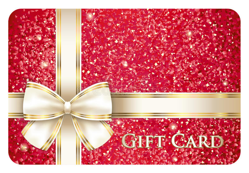 与奶油色丝带的红色光滑的礼品券 向量例证
