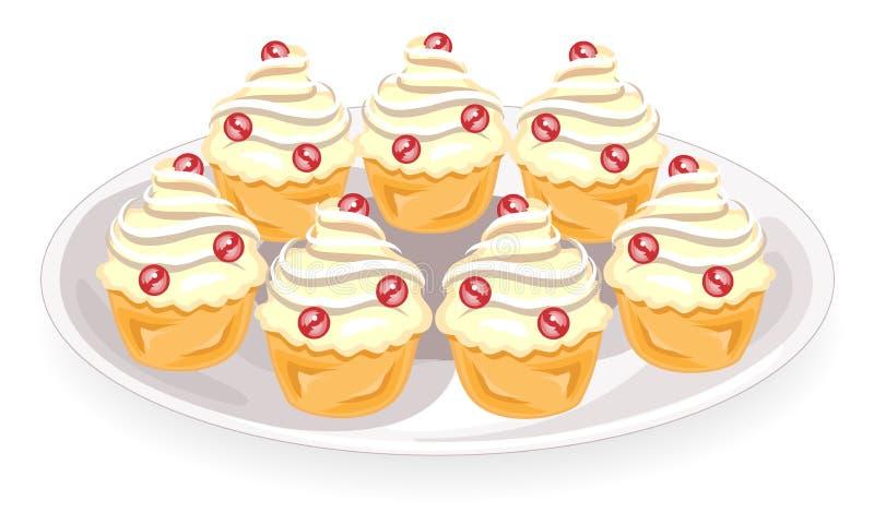 与奶油色装填的可口杯形蛋糕 在板材上是一个甜松饼 蛋糕作为点心 r 向量例证