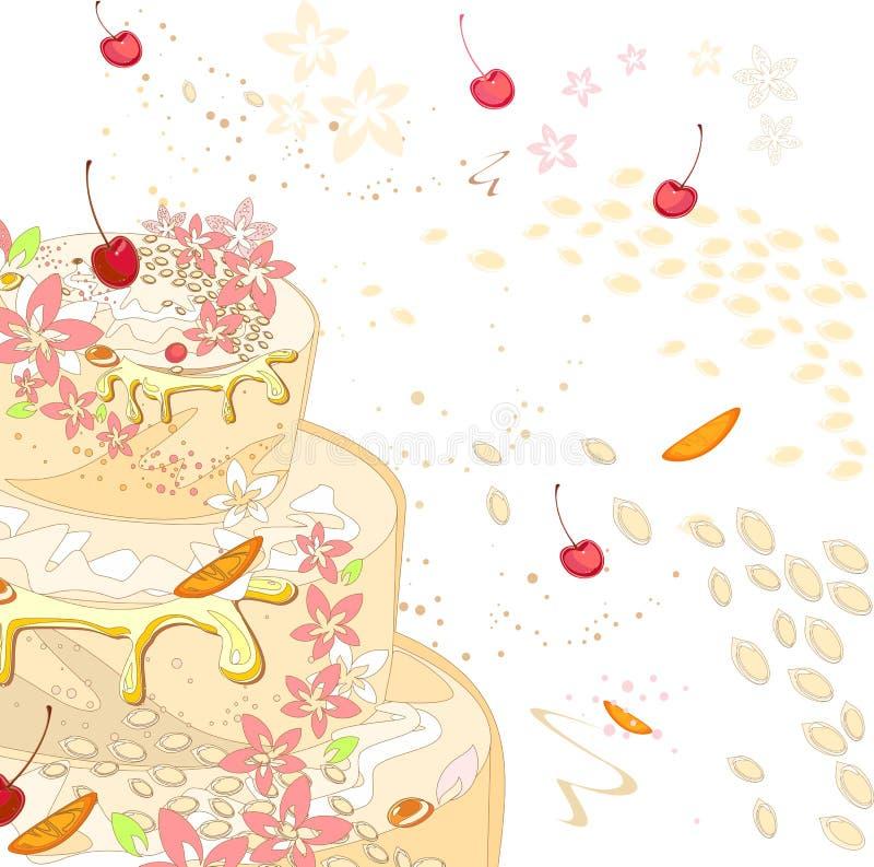 与奶油蛋糕的背景 库存例证