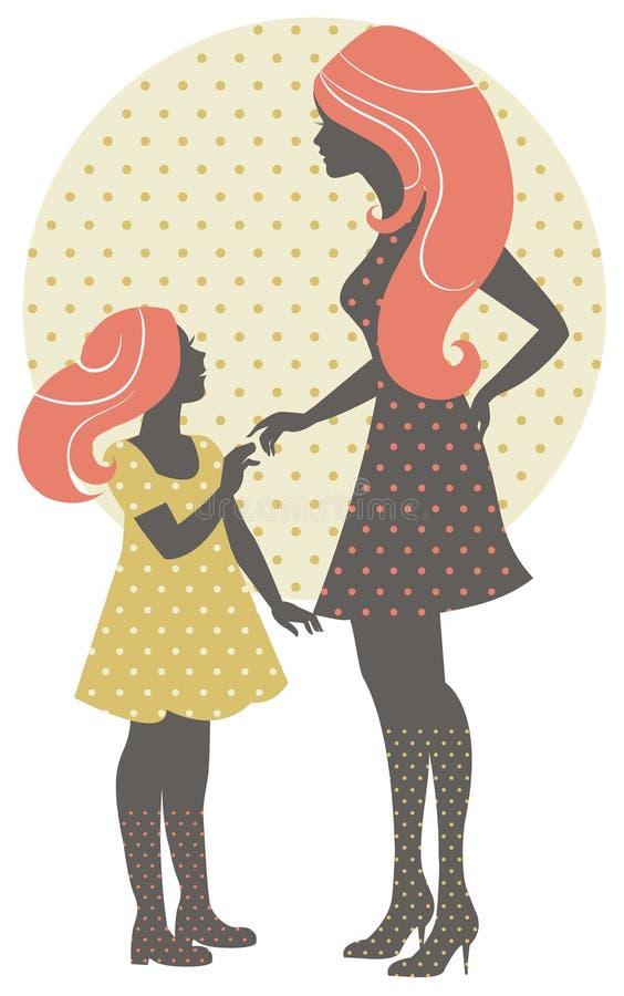 与她的女儿的美丽的母亲剪影 库存例证
