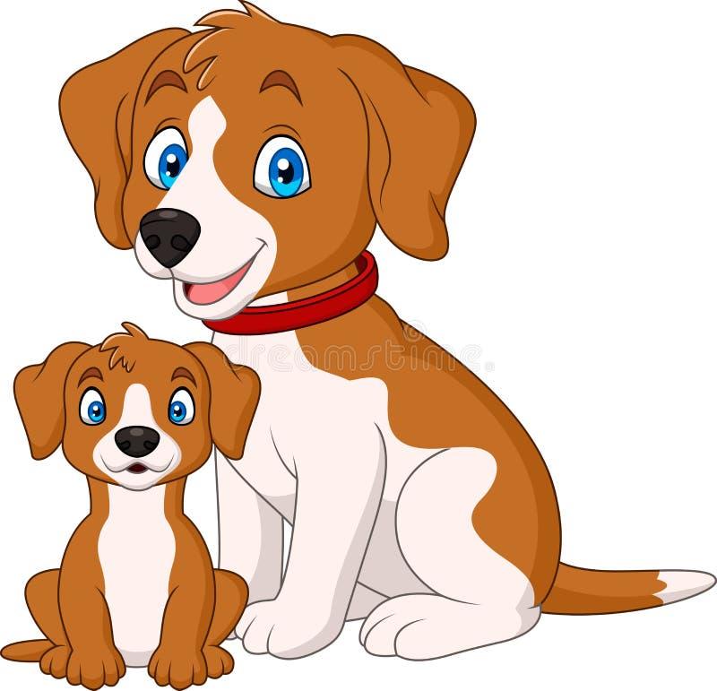 与她的小狗的逗人喜爱的母亲狗 向量例证