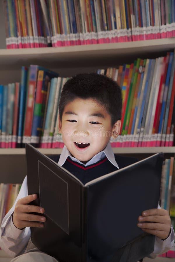 读与她的面孔的男小学生一本书被打开 库存图片
