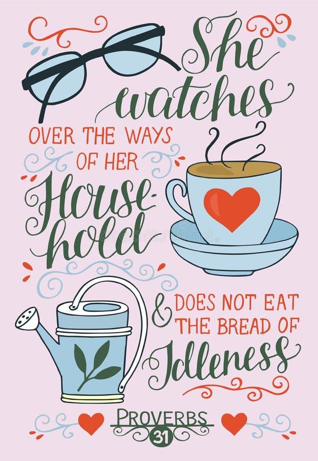 与她观看在她的家庭方式的圣经诗歌的手字法 谚语31 向量例证