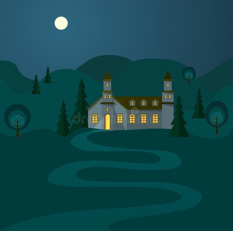 与好客的议院的夜风景 库存例证
