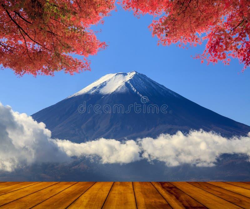 与好的槭树和花的美丽的山 库存照片