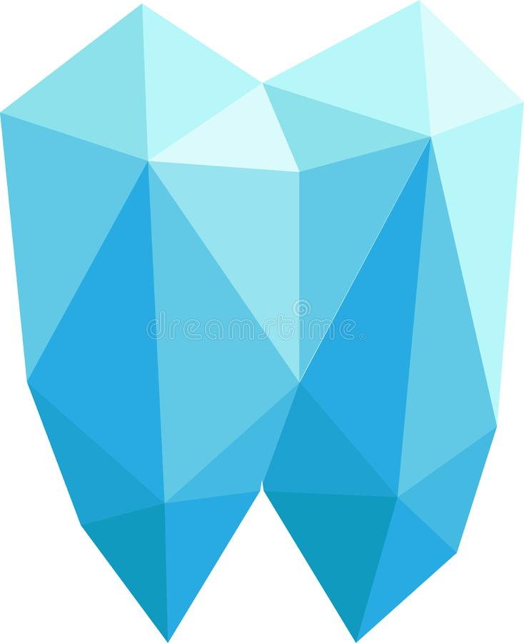 与好的颜色平衡的抽象玻璃商标 宝石形状商标 向量例证