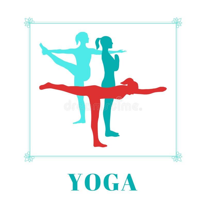 与妇女剪影的瑜伽海报瑜伽的在白色背景摆在 向量例证