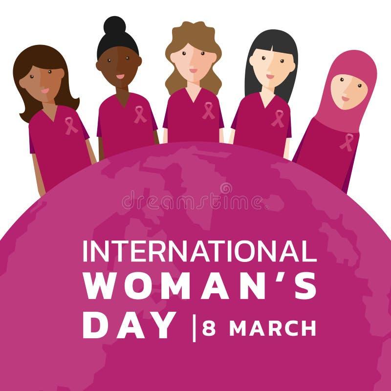 与妇女小组穿戴桃红色衬衣和丝带的国际妇女天和桃红色地球世界横幅传染媒介设计 皇族释放例证