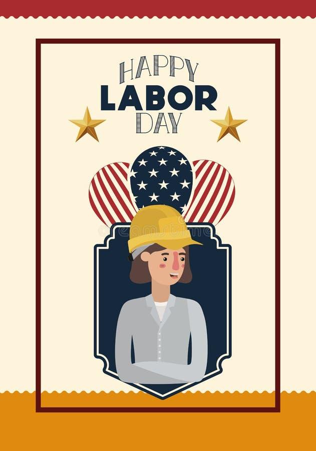 与妇女建造者和气球的愉快的劳动节卡片 库存例证