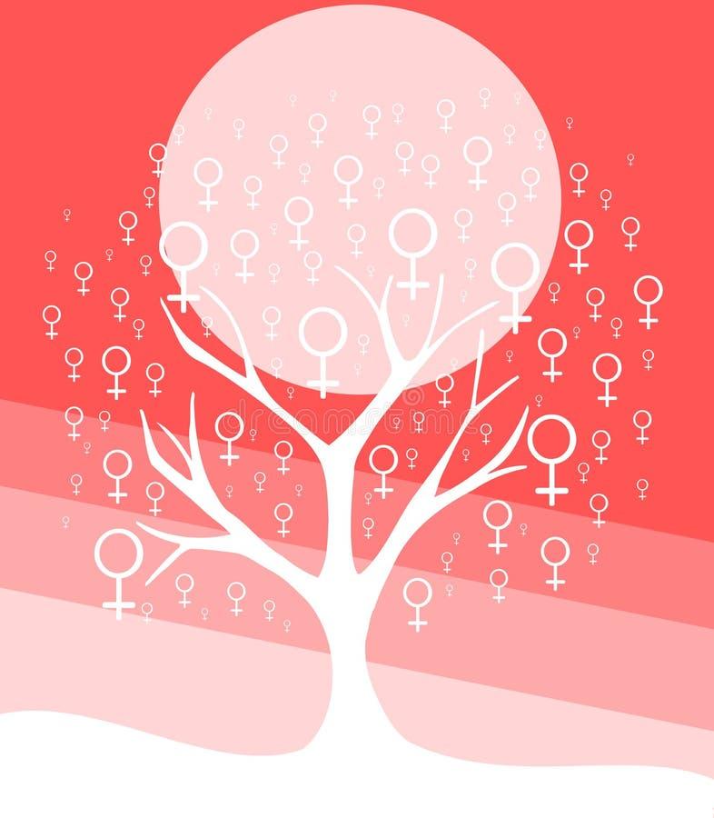 与妇女标志的风格化树 库存例证