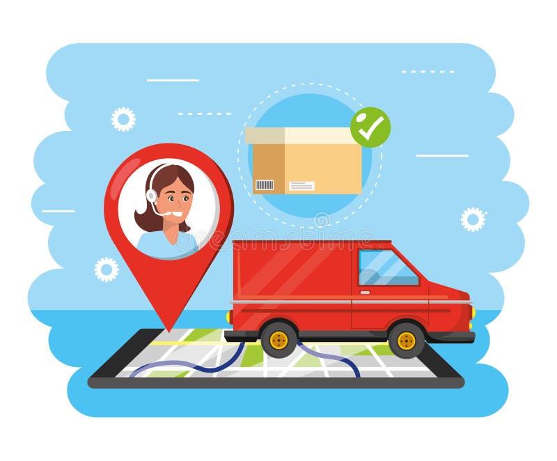 与妇女电话中心地点和智能手机gps的范运输 库存例证
