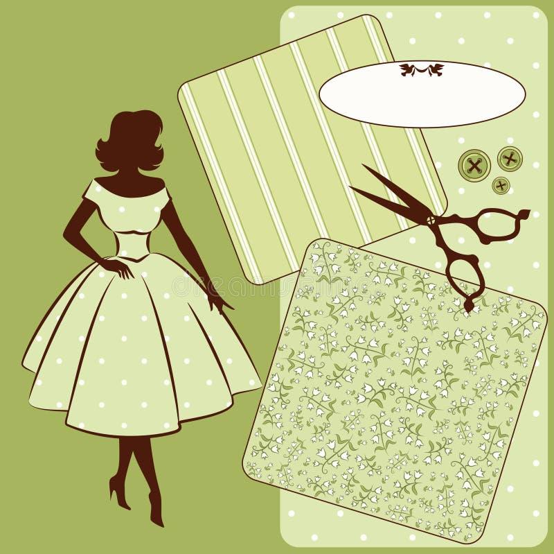 与妇女的剪影的缝合的要素 向量例证