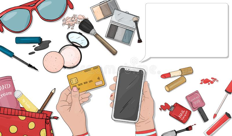 与妇女的化妆用品的网络商店概念 有信用卡和智能手机薪水的妇女的手在网上购买的 库存例证