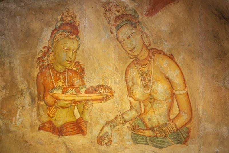 与妇女的古老壁画Sigirya的,斯里兰卡 免版税库存图片