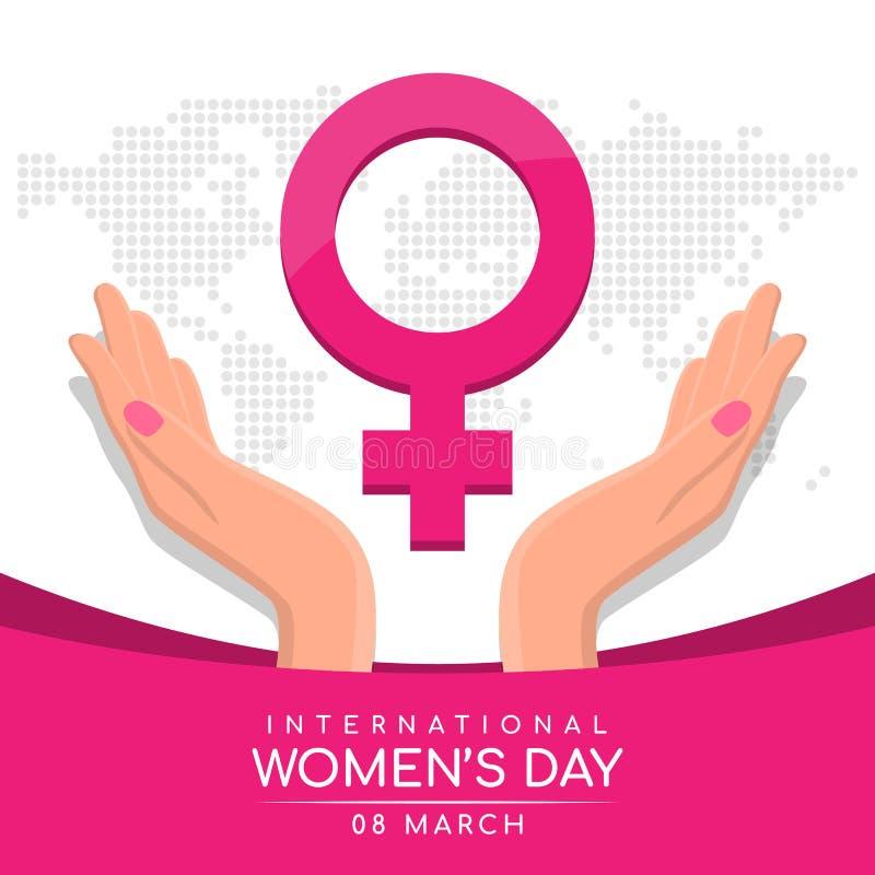 与妇女的手举行关心桃红色女性标志的国际妇女天在抽象小点世界地图纹理背景传染媒介设计 库存例证