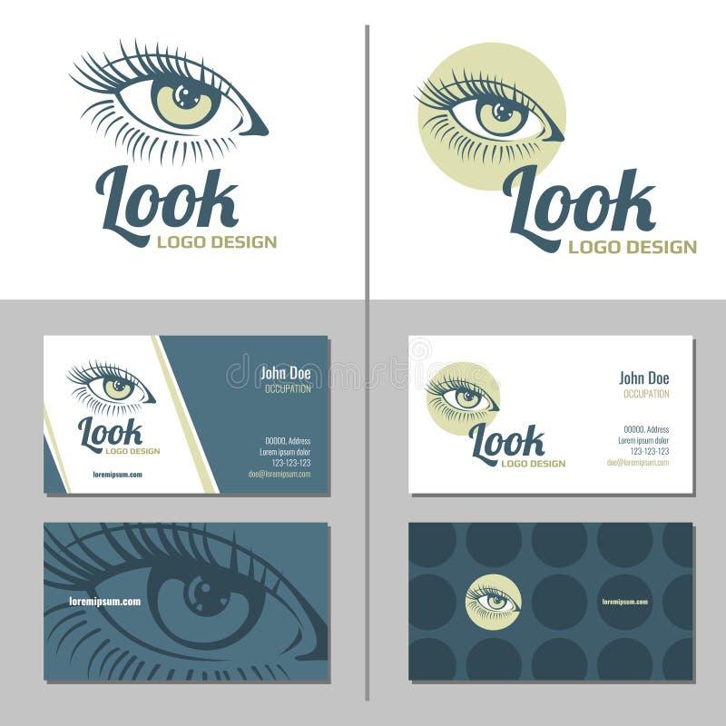 与妇女眼睛商标的名片 边界月桂树离开橡木丝带模板向量 向量例证
