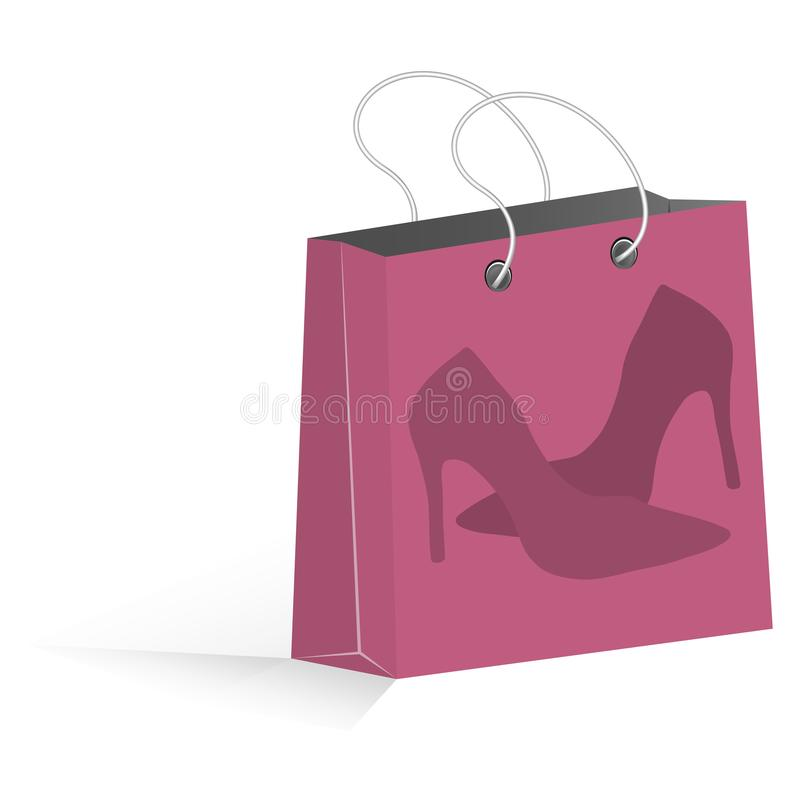 与妇女鞋子的桃红色购物袋 皇族释放例证