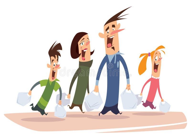 愉快的动画片家庭购物 皇族释放例证